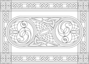 Free Spiral Stained Glass Colouring Page